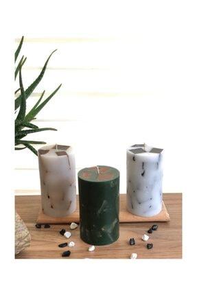 TabSecret Candle Parçacık Tasarımlı 8x13cm Aromalı 3lü Mum Seti 1