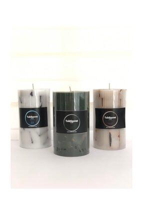 TabSecret Candle Parçacık Tasarımlı 8x13cm Aromalı 3lü Mum Seti 2