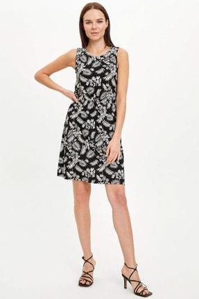 Defacto Kadın Siyah Çiçek Desenli Belden Bağlama Detaylı Örme Elbise M9053AZ.20SM.BK27 1