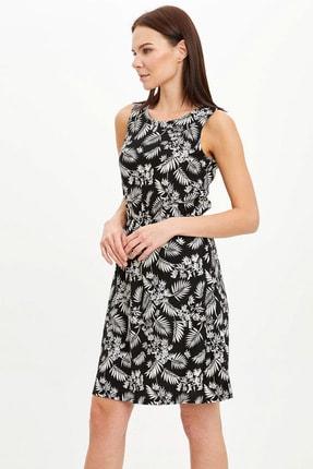 Defacto Kadın Siyah Çiçek Desenli Belden Bağlama Detaylı Örme Elbise M9053AZ.20SM.BK27 2