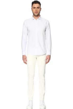 Network Erkek Çizgili Beyaz Mavi Gömlek 1066275 1