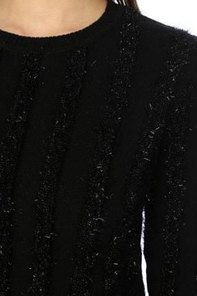 Network Kadın Çizgili Uzun Kol Siyah Kazak 1070891 3
