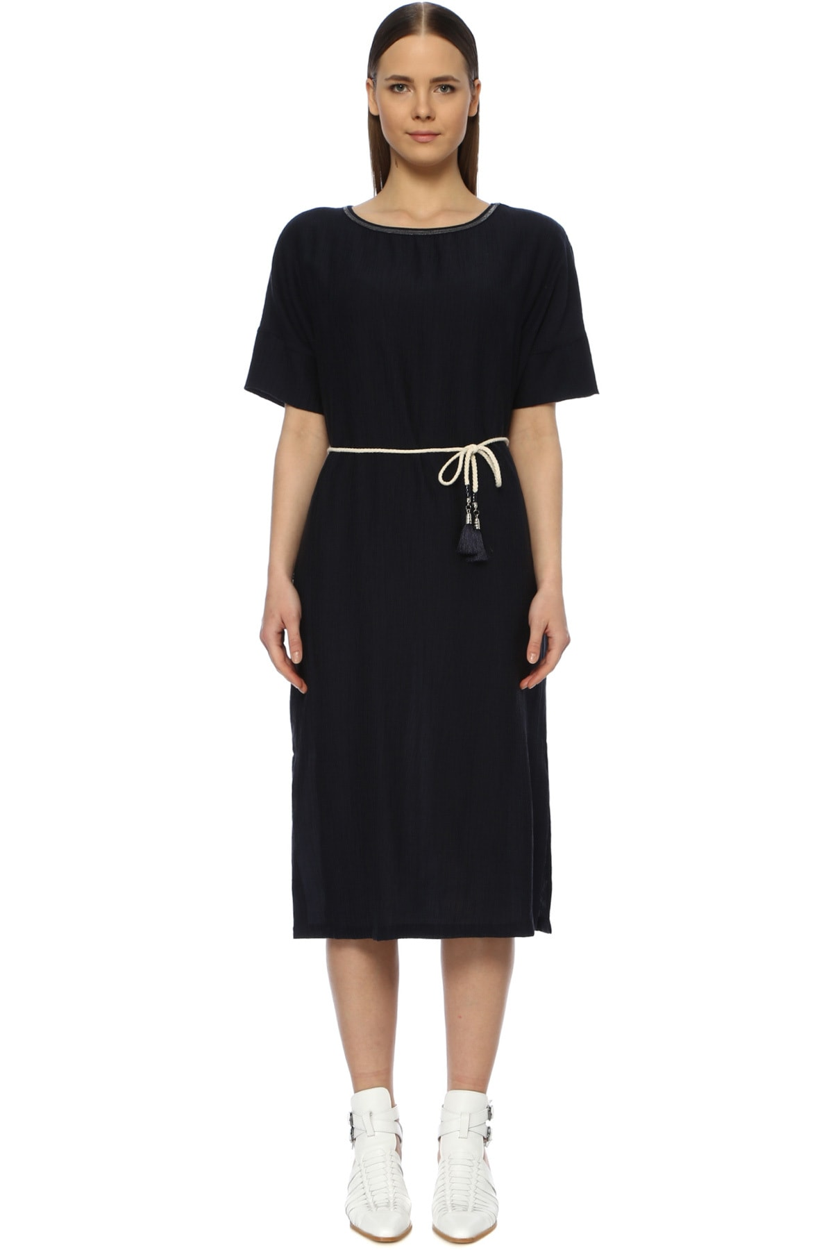 Kadın Diz Boy Lacivert Elbise 1072914