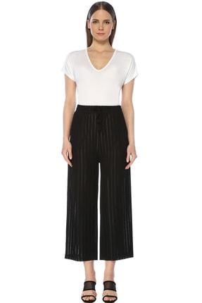 Network Kadın Çizgili Siyah Pantolon 1073847 0