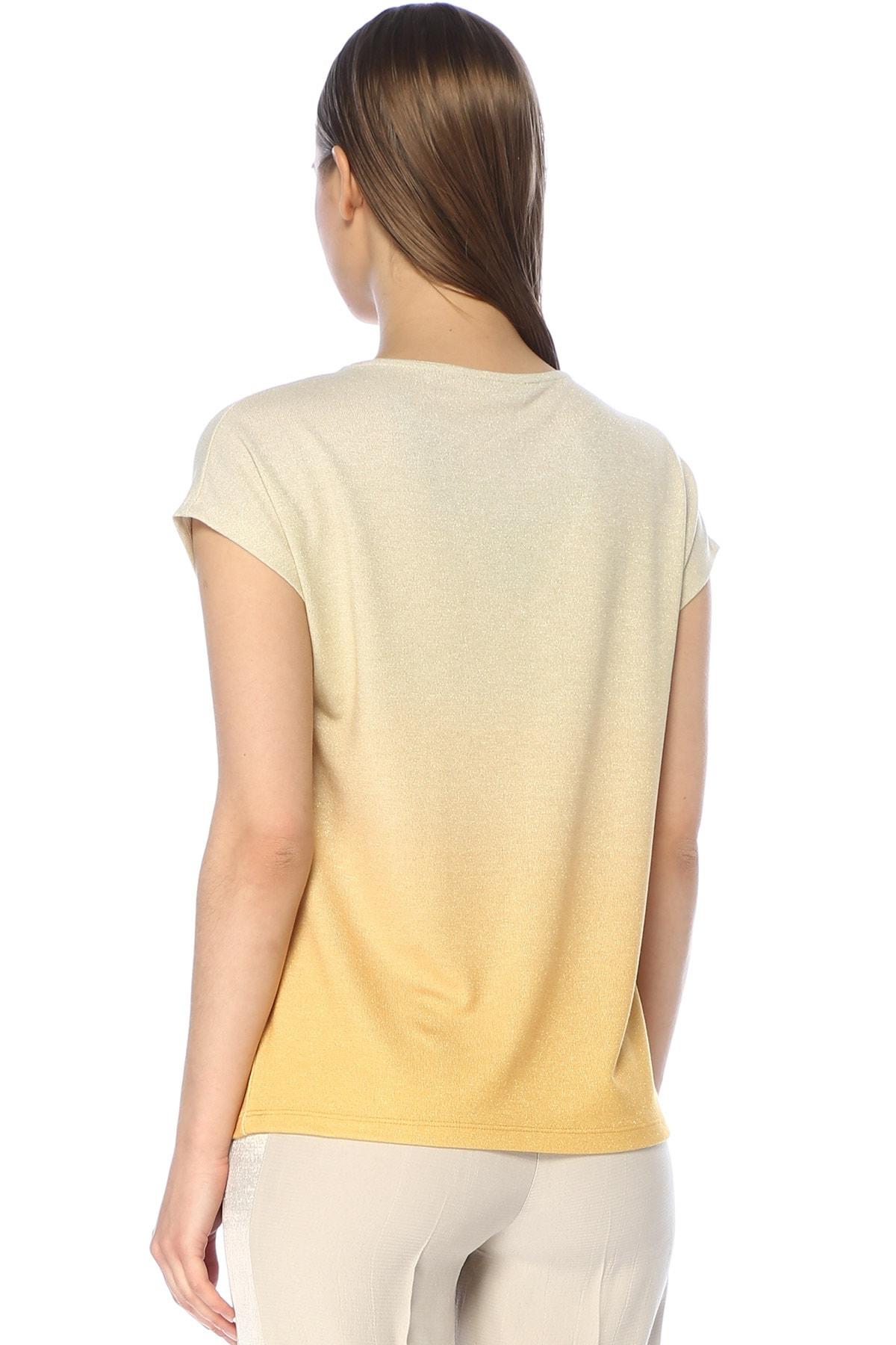 Network Kadın V Yaka Sarı Tshirt 1073759