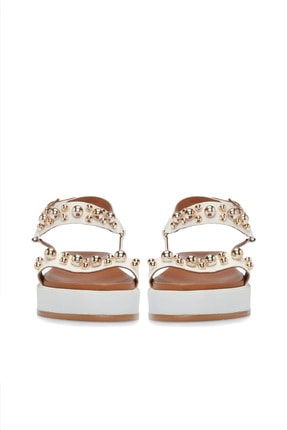 Divarese Hakiki Deri Taşlı Beyaz Sandalet 2