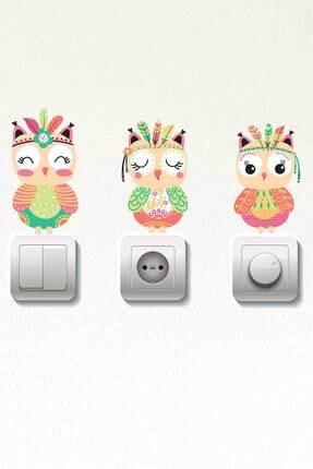 Dekor Loft Pastel Baykuşlar 3 Lü Priz Sticker 0