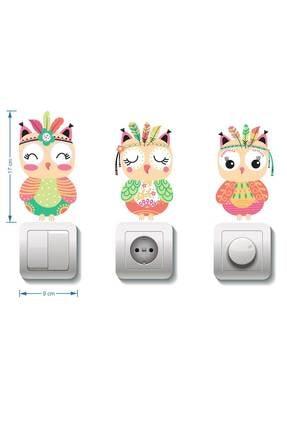 Dekor Loft Pastel Baykuşlar 3 Lü Priz Sticker 1