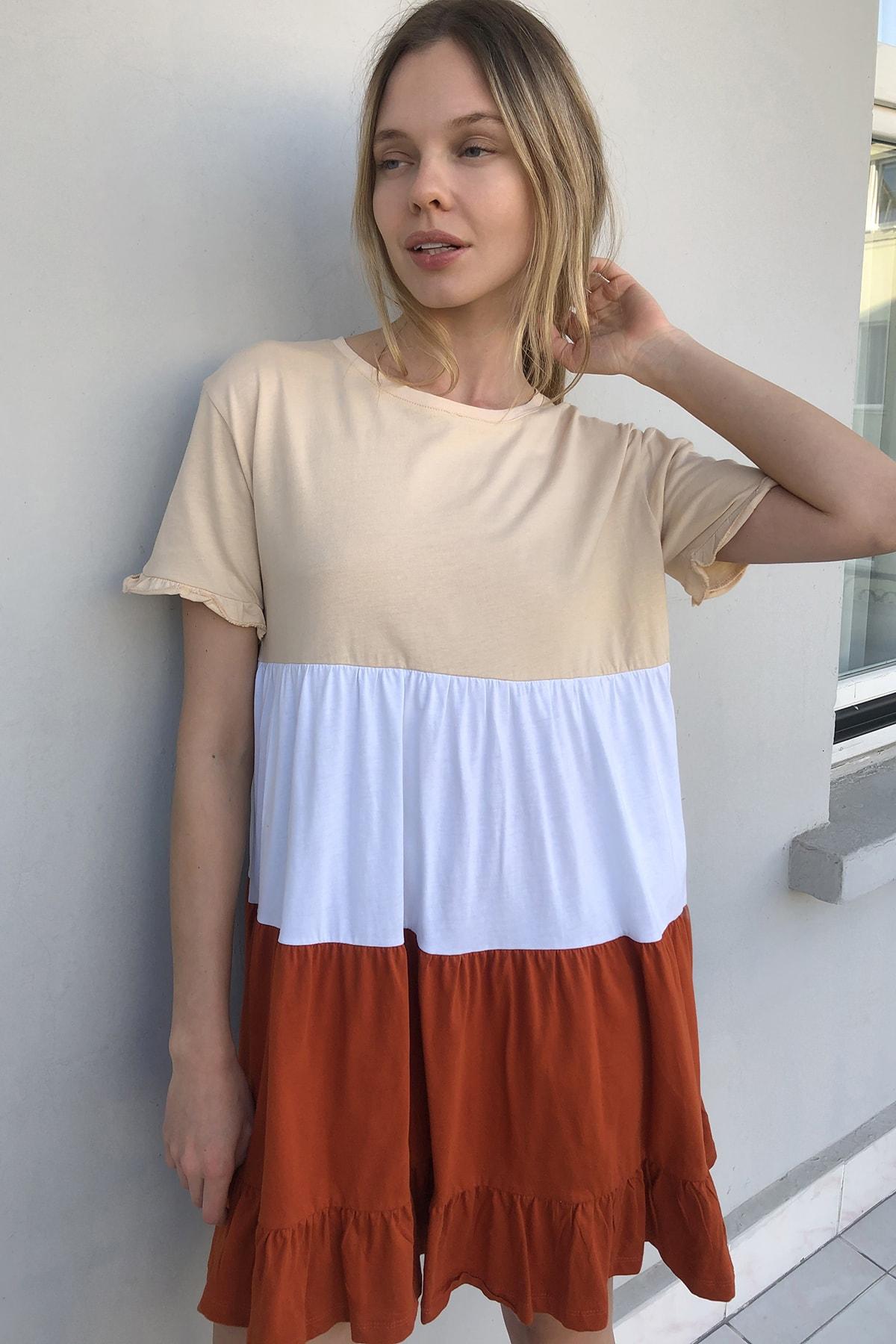 TRENDYOLMİLLA Bej  Elbise Renk Bloklu Örme Elbise TWOSS20EL1638 0
