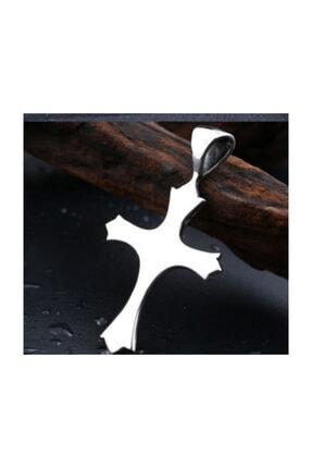 daisybydaisy Paslanmaz Çelik zirkon Taşlı Gotik Tarz Unisex Haç Kolye 3