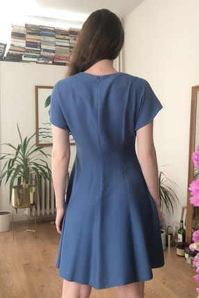 TRENDYOLMİLLA Indigo Kol Detaylı Pileli Elbise TWOSS20EL2303 2