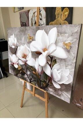 Simli Kanvas Beyaz Çiçekler Kabartma Ve Sim Işlemeli Kanvas Tablo 150 x 100 cm 1
