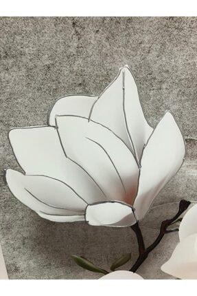 Simli Kanvas Beyaz Çiçekler Kabartma Ve Sim Işlemeli Kanvas Tablo 150 x 100 cm 2