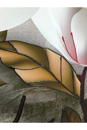 Simli Kanvas Beyaz Çiçekler Kabartma Ve Sim Işlemeli Kanvas Tablo 150 x 100 cm 3