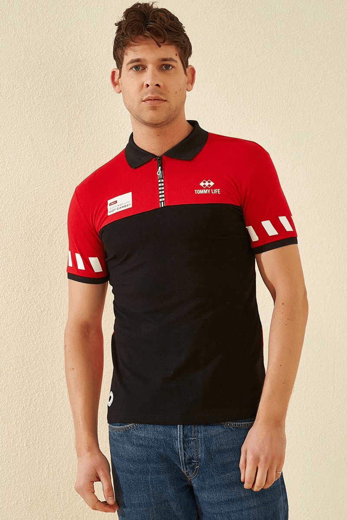 Tommy Life Kol Detaylı Polo Yaka Kırmızı Erkek T-Shirt T08ER-87800_1 2