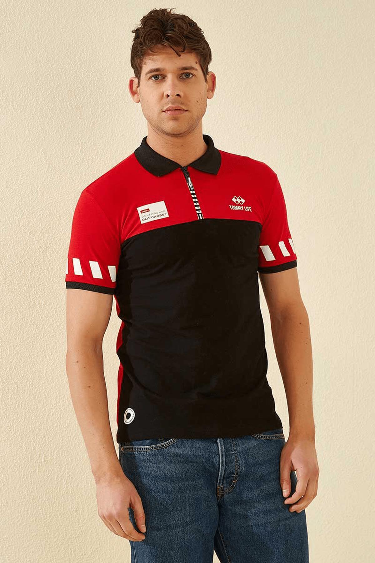 Tommy Life Kol Detaylı Polo Yaka Kırmızı Erkek T-Shirt T08ER-87800_1 4