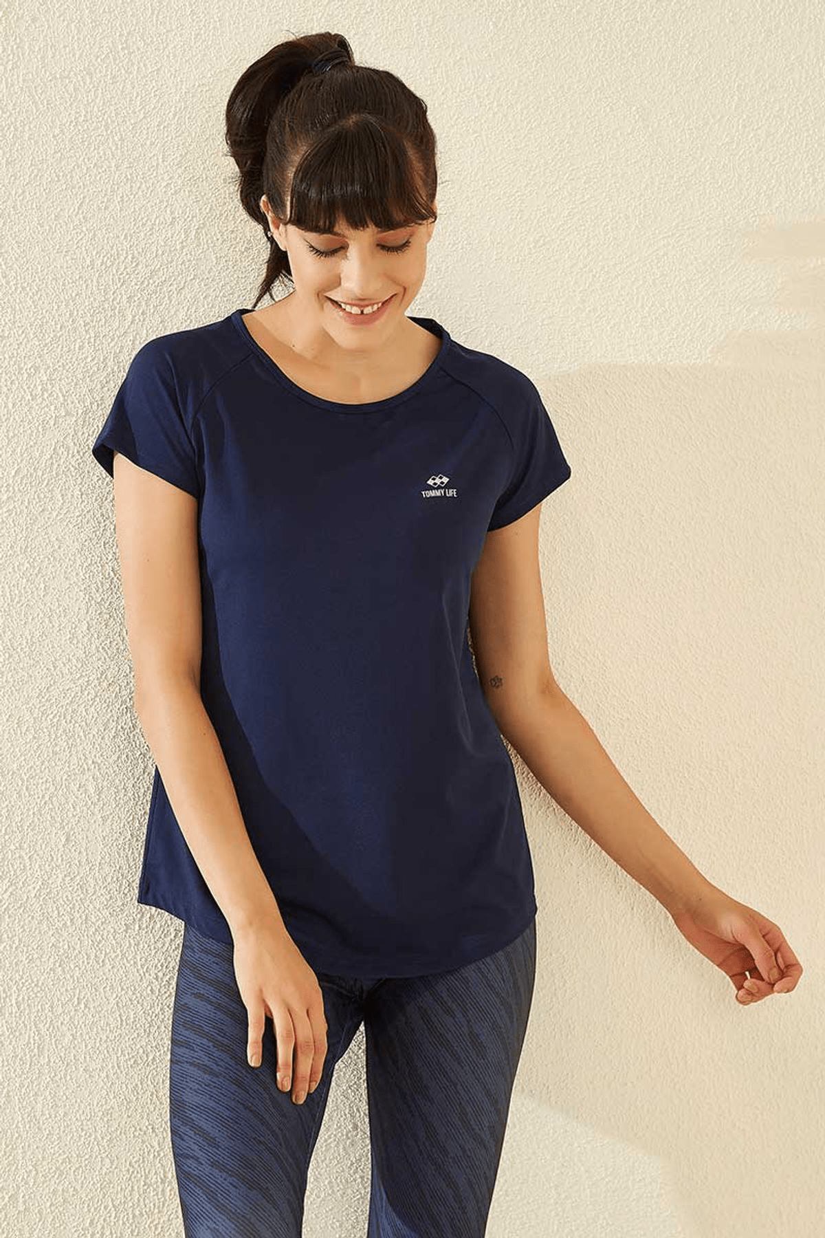 Tommy Life Arka Detay Indigo Kadın Tshirt T05BY-97101_1 4