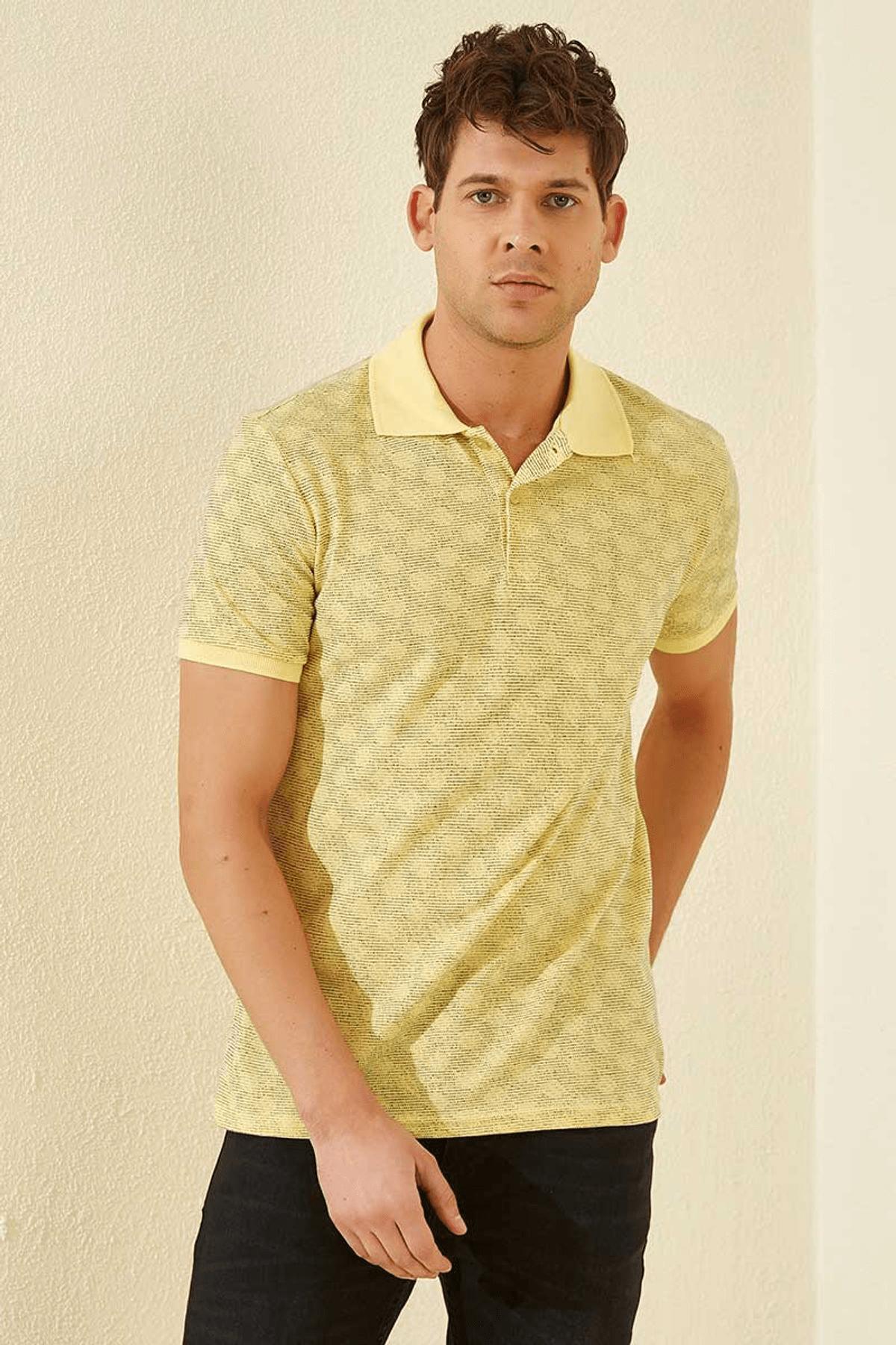 Tommy Life Baskılı Polo Yaka Sarı Erkek T-Shirt T08ER-87796_1 0