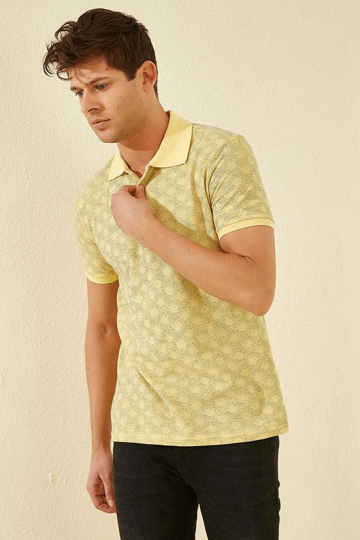 Tommy Life Baskılı Polo Yaka Sarı Erkek T-Shirt T08ER-87796_1 1