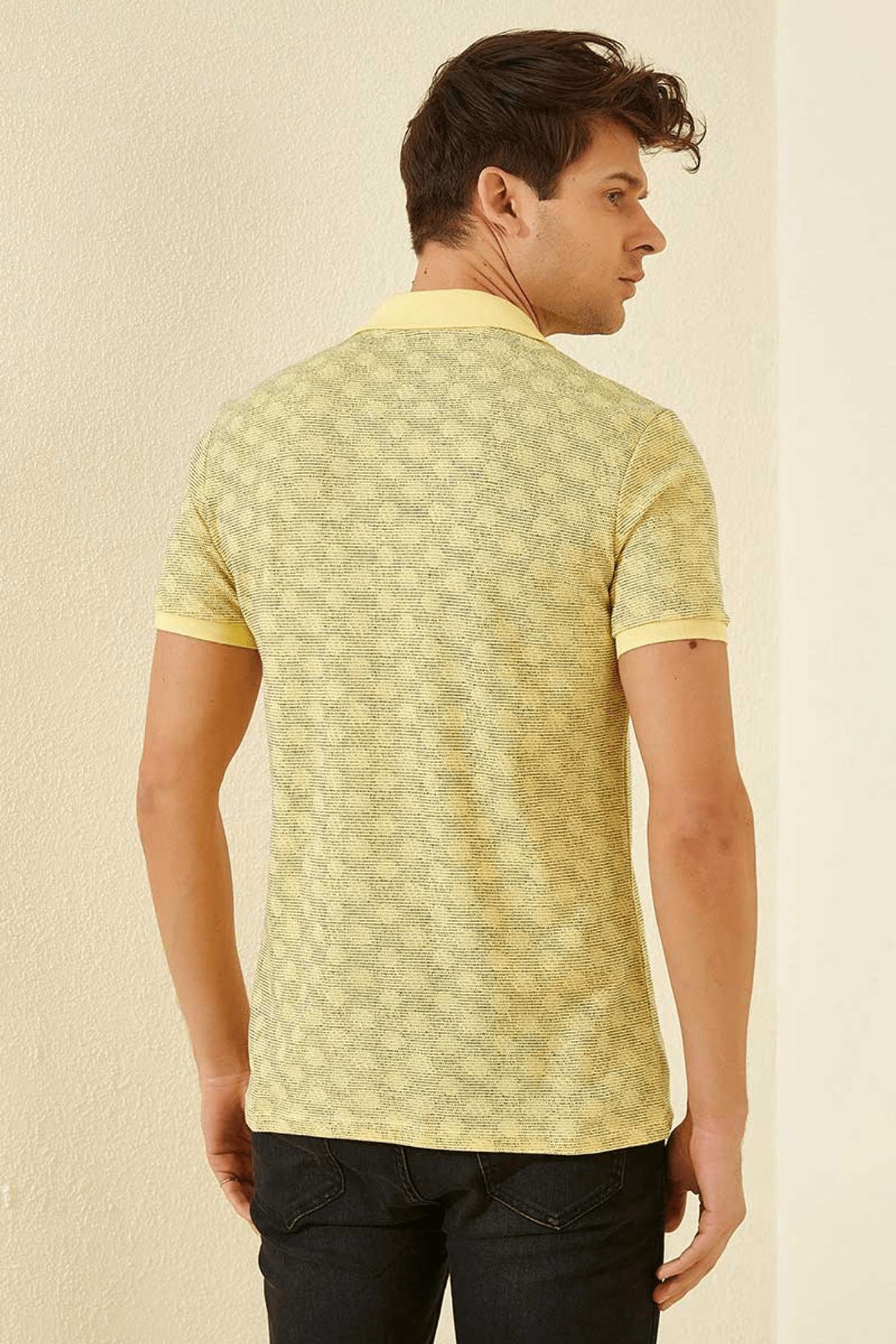 Tommy Life Baskılı Polo Yaka Sarı Erkek T-Shirt T08ER-87796_1 3