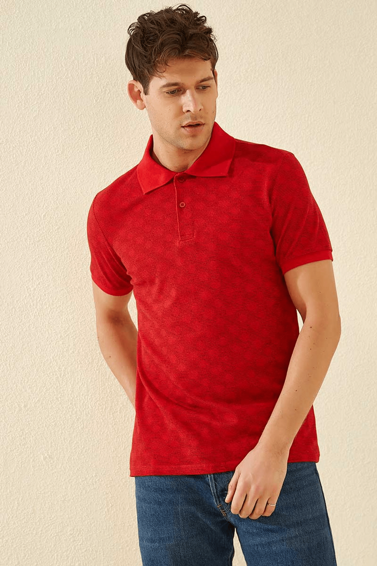 Tommy Life Baskılı Polo Yaka Kırmızı Erkek T-Shirt T08ER-87796_1 0