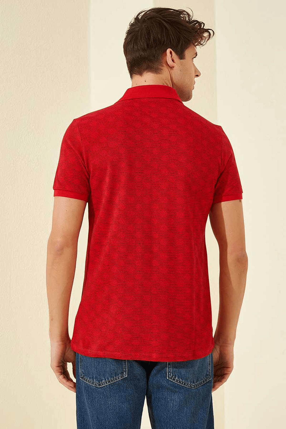 Tommy Life Baskılı Polo Yaka Kırmızı Erkek T-Shirt T08ER-87796_1 4