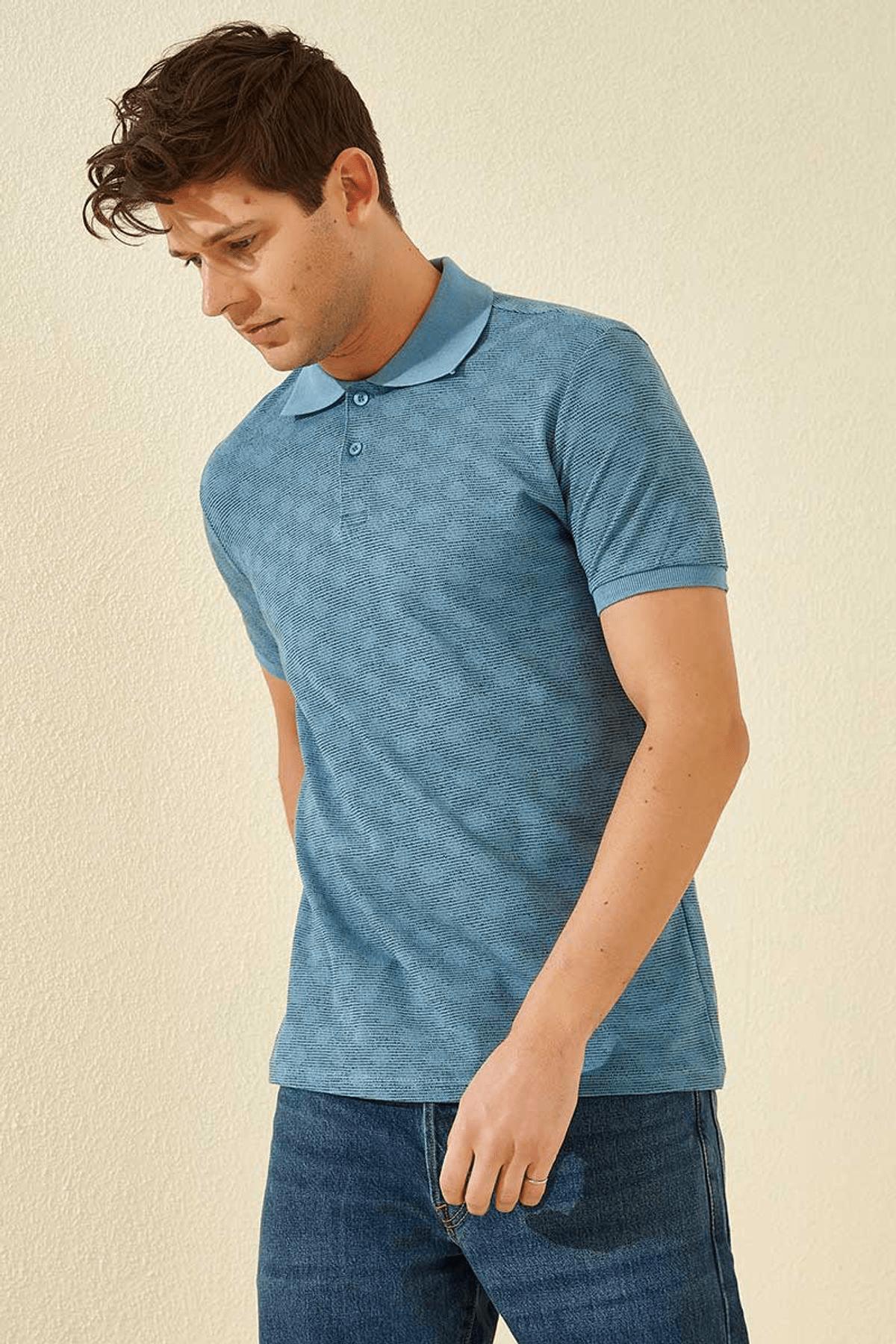 Tommy Life Baskılı Polo Yaka Kirli Mavi Erkek T-Shirt T08ER-87796_1 2