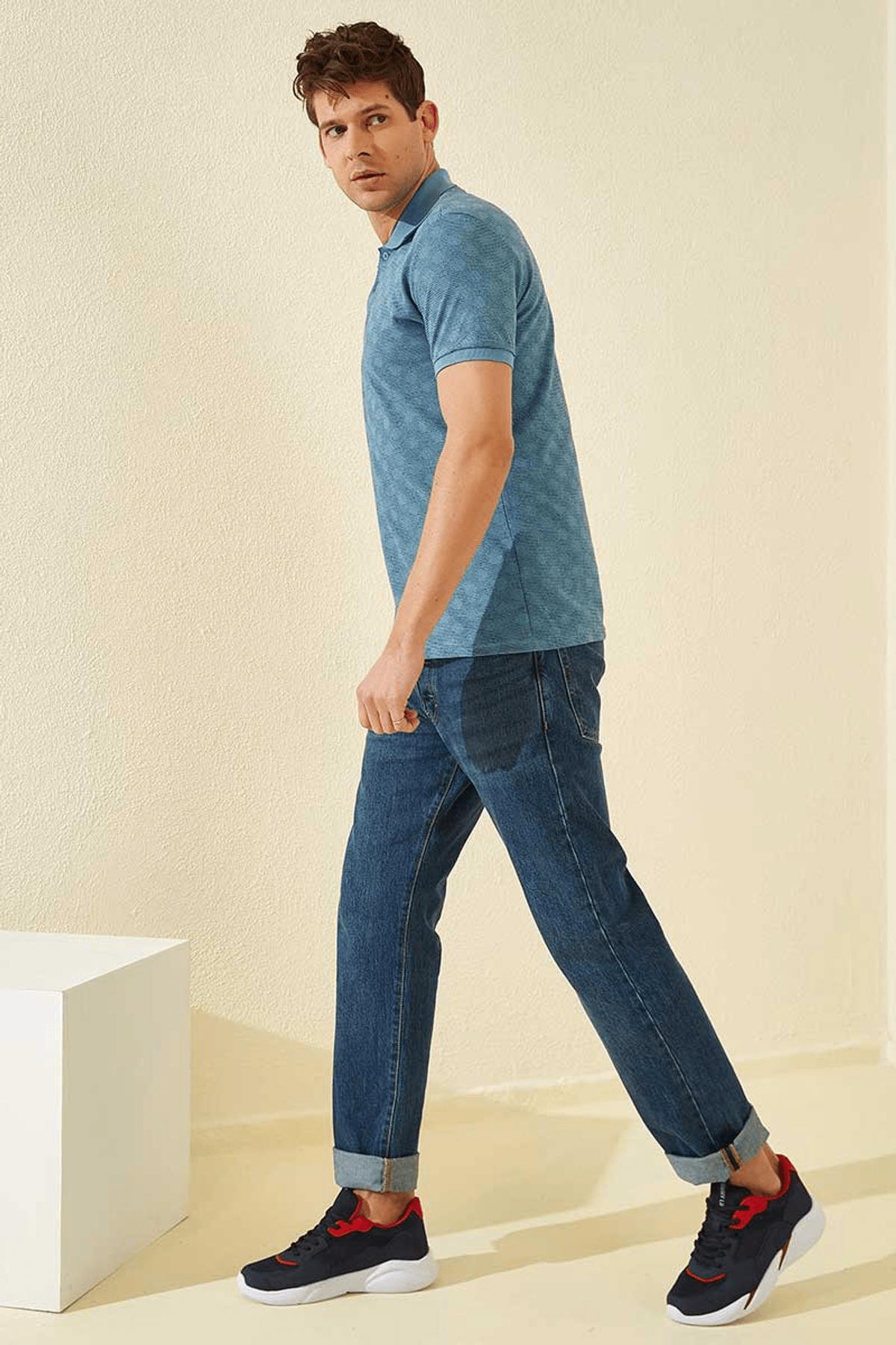 Tommy Life Baskılı Polo Yaka Kirli Mavi Erkek T-Shirt T08ER-87796_1 3