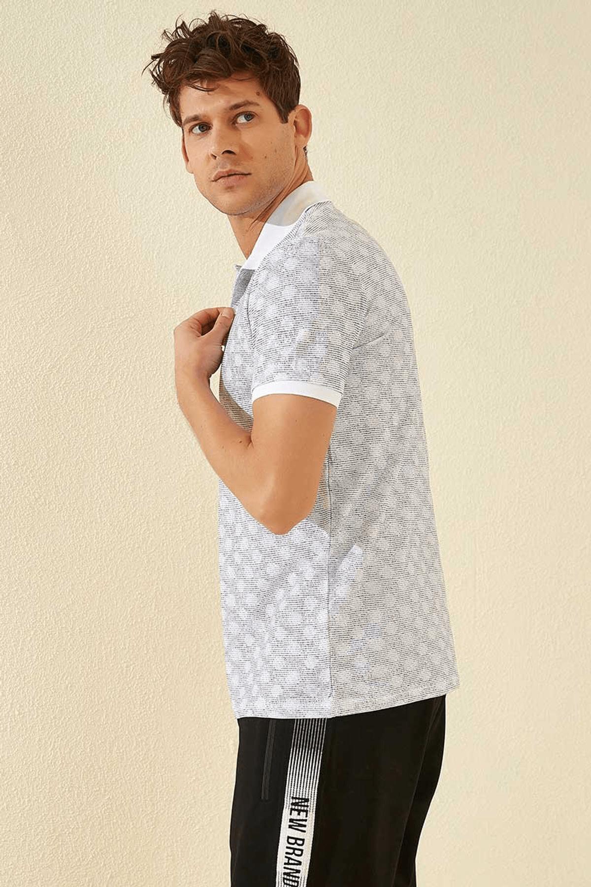 Tommy Life Baskılı Polo Yaka Beyaz Erkek T-Shirt T08ER-87796_1 2