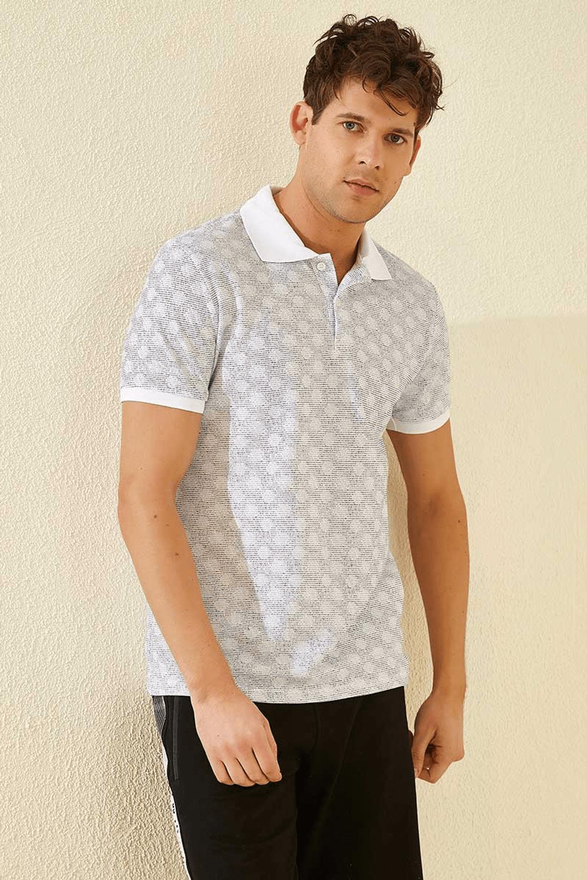 Tommy Life Baskılı Polo Yaka Beyaz Erkek T-Shirt T08ER-87796_1 4