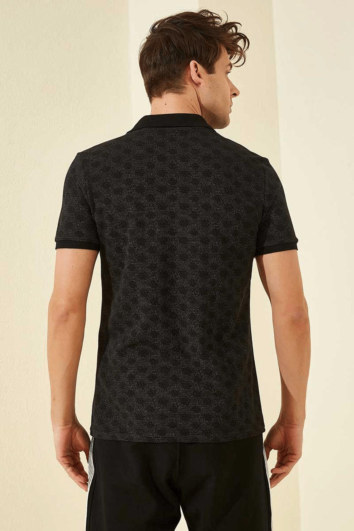 Tommy Life Baskılı Polo Yaka Siyah Erkek T-Shirt T08ER-87796_1 4