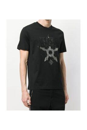 Les Hommes Yapay Elmas Taş Süslemeli Sıfır Yaka Erkek T-shirt 2