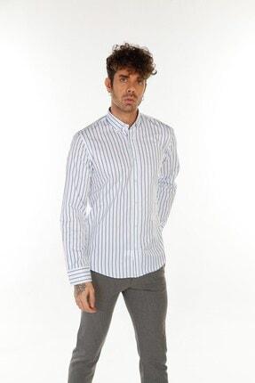 TREND&YOU Çizgili Beyaz Mavi Gömlek 1