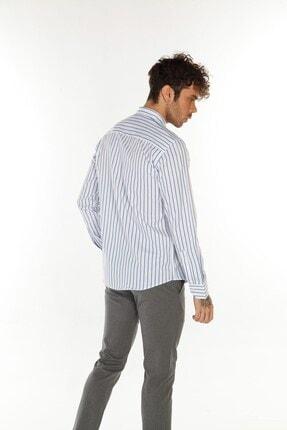 TREND&YOU Çizgili Beyaz Mavi Gömlek 3