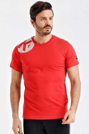 Kempa Erkek Kırmızı Pamuklu Bisiklet Yaka T-shirt 0