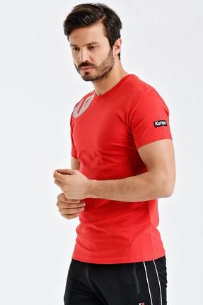 Kempa Erkek Kırmızı Pamuklu Bisiklet Yaka T-shirt 1