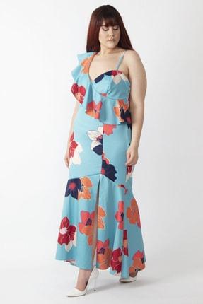 Şans Kadın Renkli Yaka Detaylı Abiye Elbise 65N16001 0
