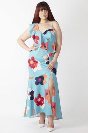 Şans Kadın Renkli Yaka Detaylı Abiye Elbise 65N16001 1
