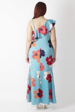 Şans Kadın Renkli Yaka Detaylı Abiye Elbise 65N16001 2