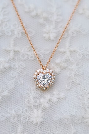 Crystal Diamond Zirconia Labaratuvar Pırlantası 1 Carat Kalp Kolye 0