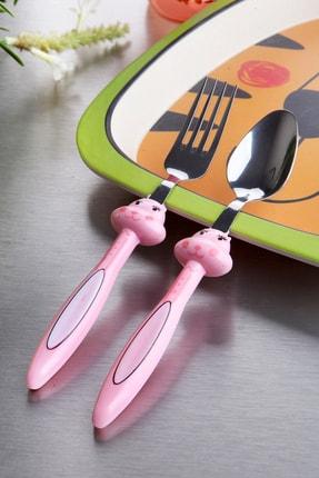 Kitchen Life Figürlü Lüx Çelik 2'li Mama Kaşık Ve Çatalı 0