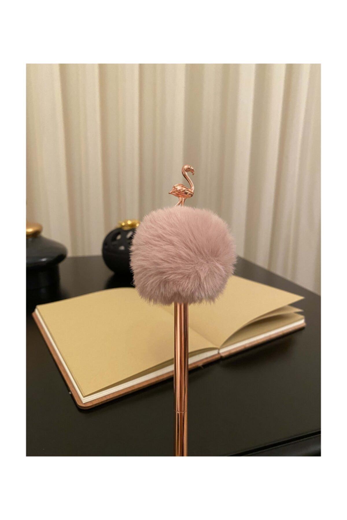 Bronz Renk Pudra Peluş Ponponlu Flamingo Kalem