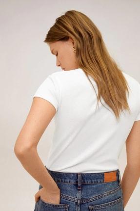 Mango Kadın Beyaz Pamuklu Logolu Tişört 67000604 3