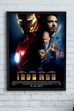 Postermanya Iron Man-demir Adam Film Afişi Çerçeveli Tablo 4 (30 X 40cm) 0