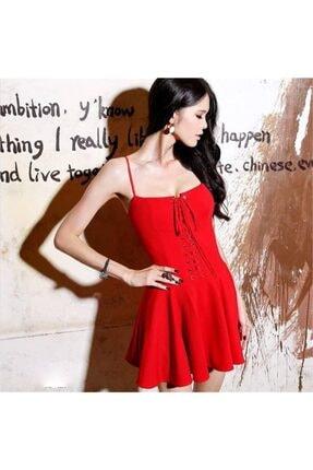 lovebox Esnek Dalgıç Kumaş Önden Bağcık Detaylı Askılı Kırmızı Kiloş Elbise 1