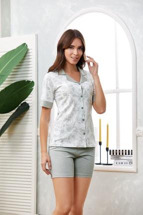 Flz Pijama Düğmeli Kısakol Şort Pijama Takım 0