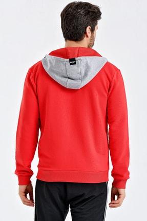 Kempa Erkek Kırmızı Pamuklu Kapşonlu Sweatshirt 3