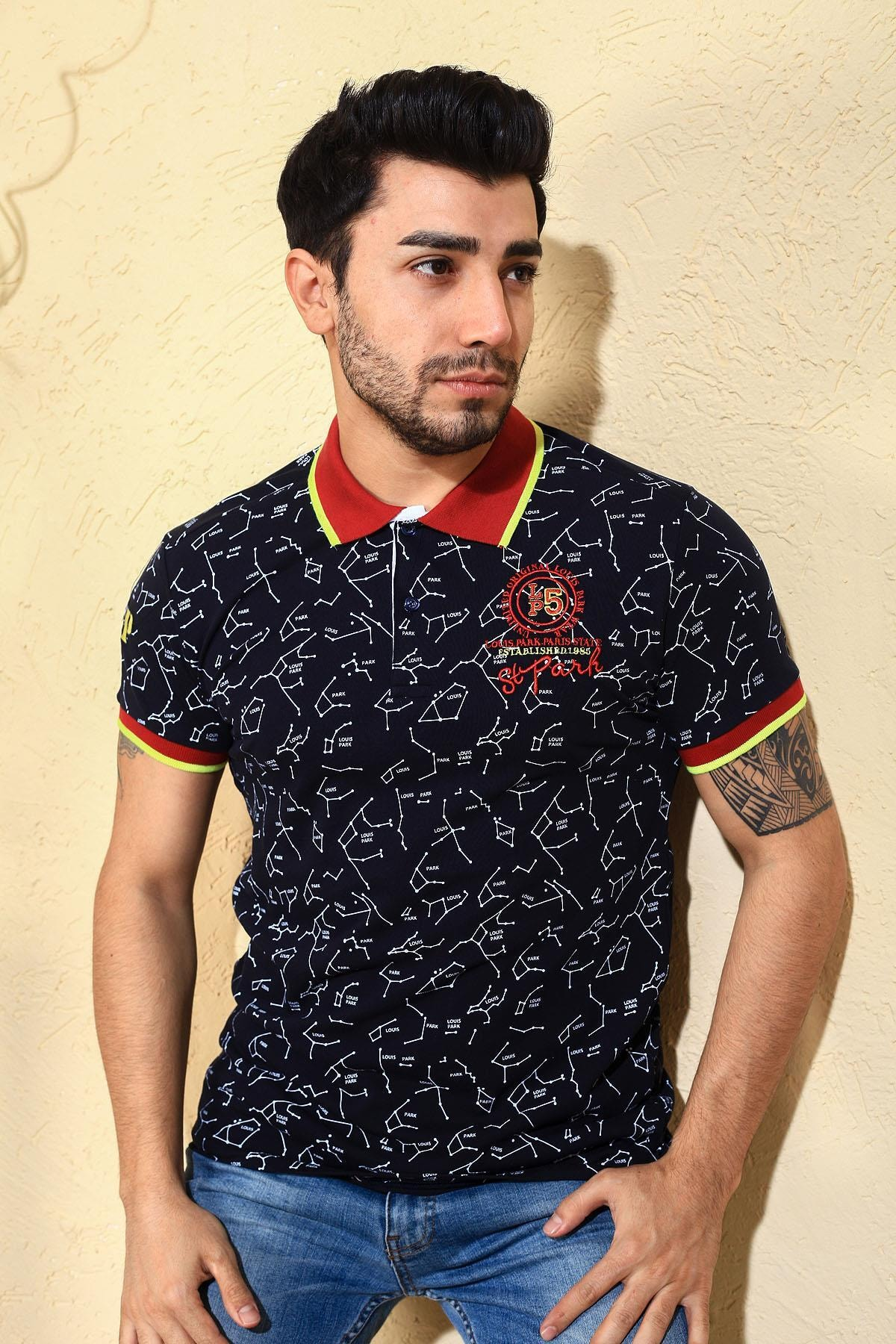 Oksit Louis Ly188  Pamuklu Slim Fit Likralı Erkek Polo Yaka Tshirt 0