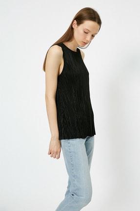 Kadın Siyah Pileli Bluz 0YAK33032EK
