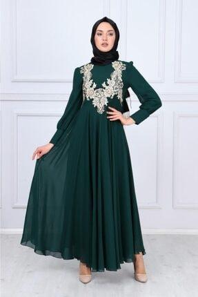Kadın Zümrüt Yeşili Dantel Detay Şifonlu Tesettür Elbise 8750-3